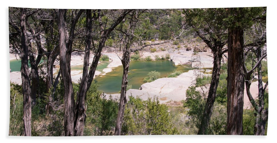 Pedernales Bath Sheet featuring the photograph Pedernales River Pool In August by JG Thompson