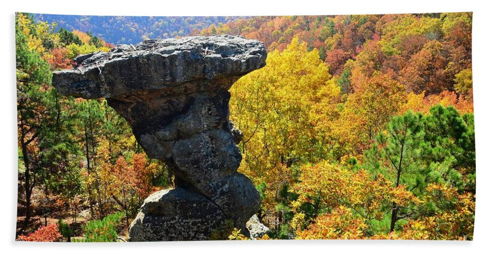 Pedestal Rock Hand Towel featuring the photograph Pedestal Rock by Deanna Cagle