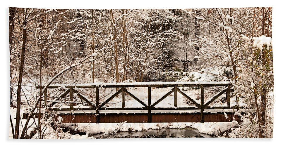 Winter Hand Towel featuring the photograph Pedestrian Bridge In The Snow by Michael Porchik