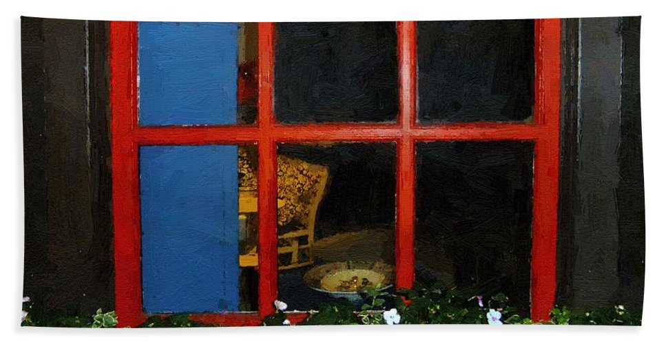 Window Hand Towel featuring the painting Peeking In by RC DeWinter