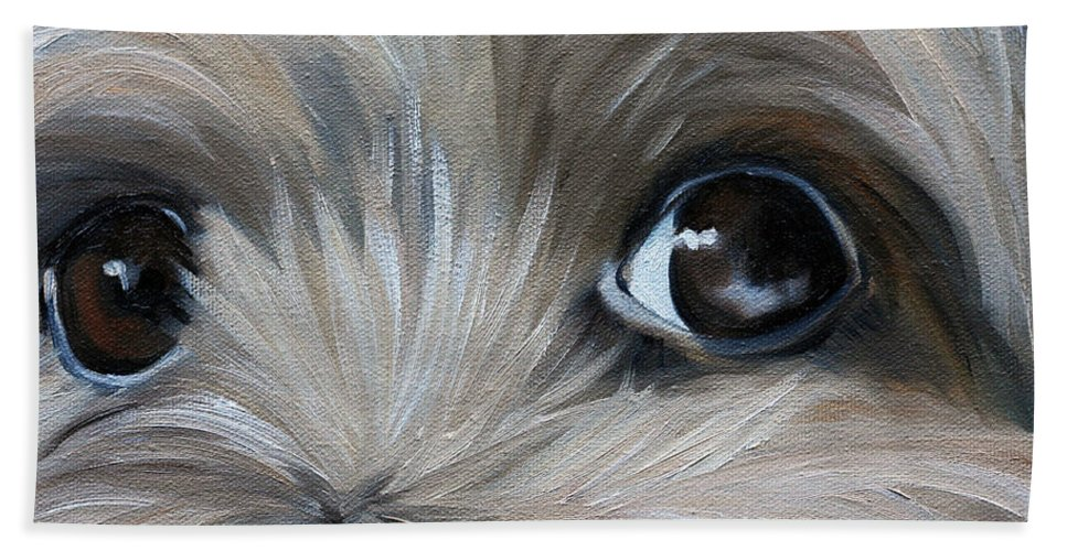 Yorkie Hand Towel featuring the painting Peeper by Mary Sparrow