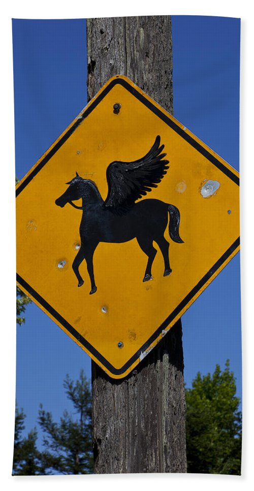 Pegasus Road Sign Hand Towel featuring the photograph Pegasus Road Sign by Garry Gay