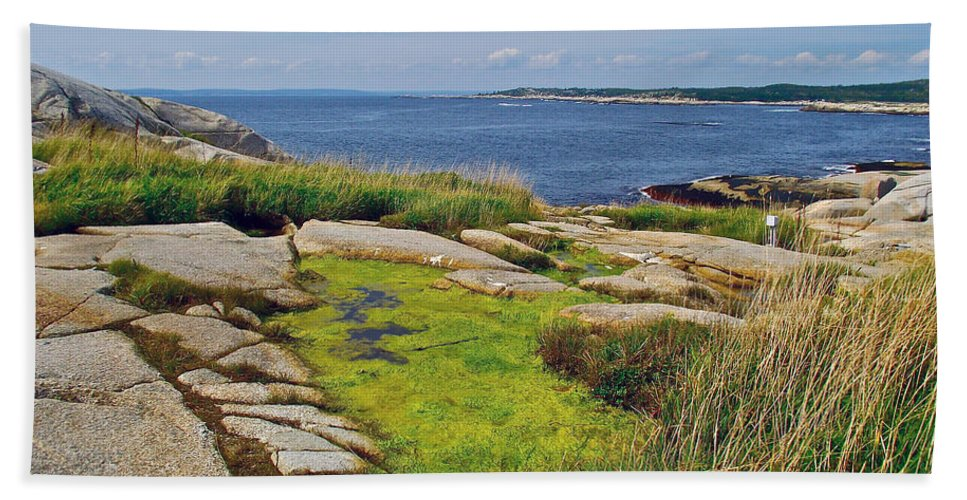 Peggy's Cove From Lighthouse Hand Towel featuring the photograph Peggy's Cove From Lighthouse-ns by Ruth Hager