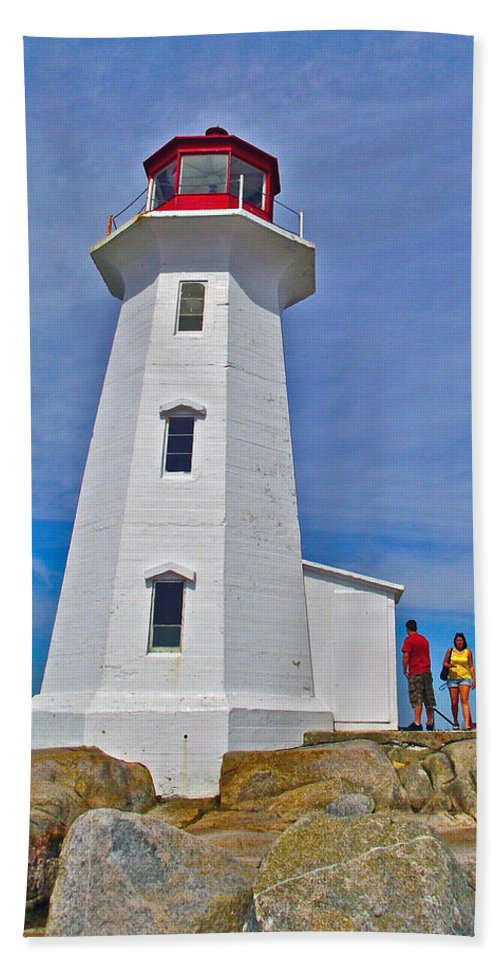 Peggy's Cove Lighthouse Closeup Hand Towel featuring the photograph Peggy's Cove Lighthouse Closeup-ns by Ruth Hager