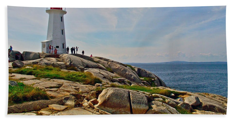 Peggy's Cove Lighthouse On The Rocks Hand Towel featuring the photograph Peggy's Cove Lighthouse On The Rocks-ns by Ruth Hager