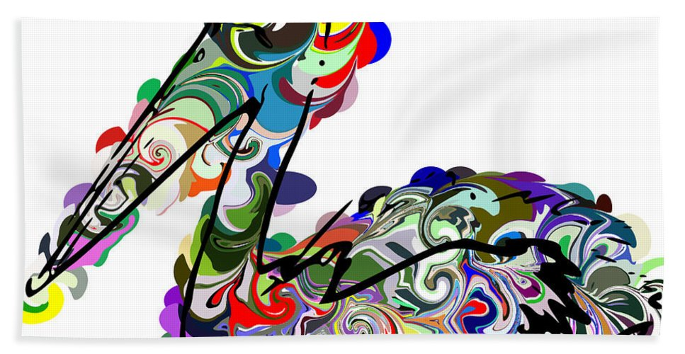 Colorful Abstract Pelican Hand Towel featuring the digital art Pelican by Chris Butler