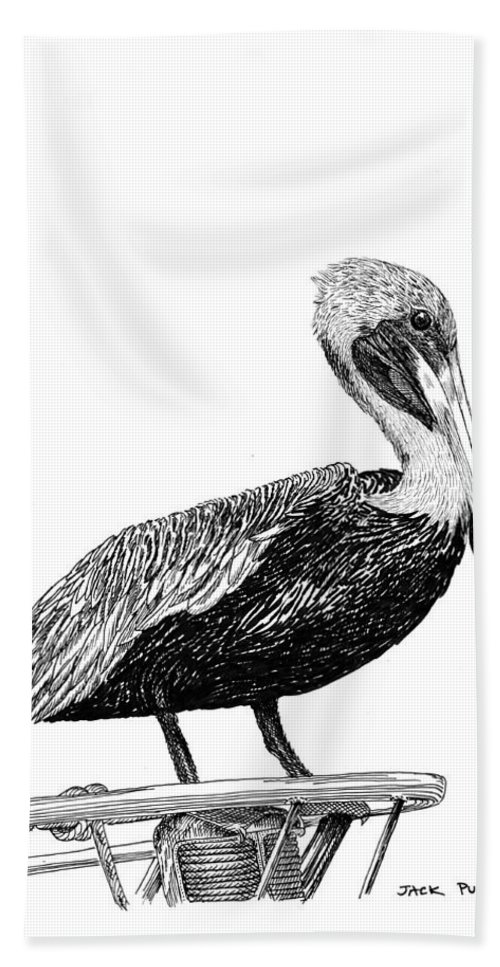 Priced Starting At $ 100.00 To $ 125.00 Hand Towel featuring the drawing Monterey Pelican Pooping by Jack Pumphrey