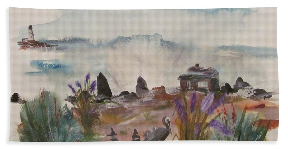 Pelican Hand Towel featuring the painting Pelican Point by Susan Voidets