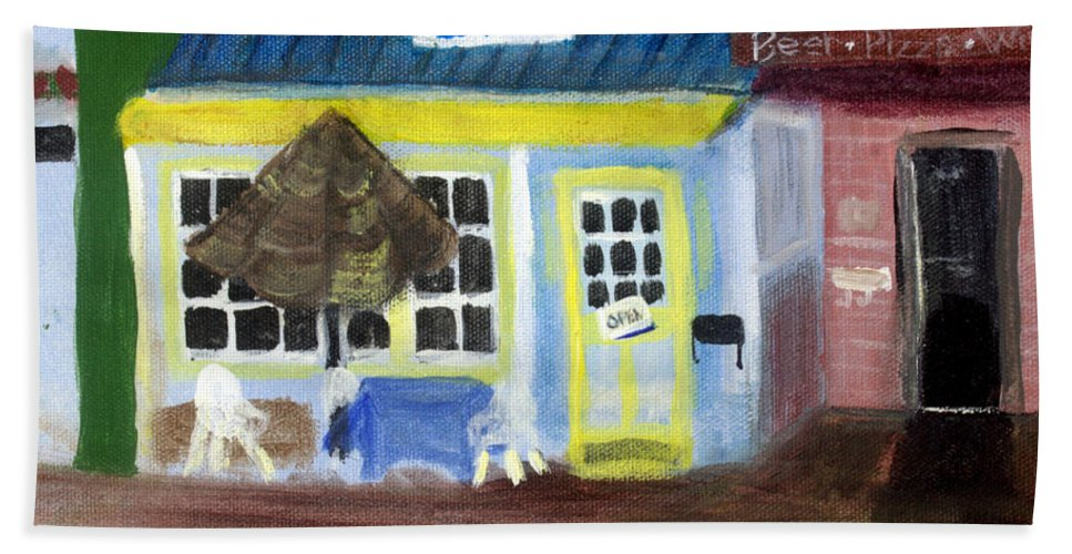 America Hand Towel featuring the painting Pelican Restaurant On Lake Ave In Lake Worth Florida by Donna Walsh
