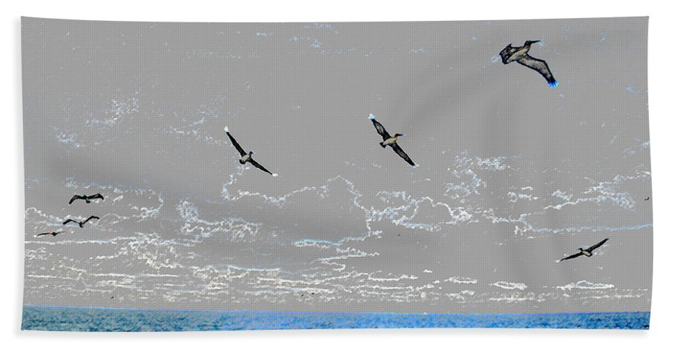 Landscape Hand Towel featuring the painting Pelicans Sky by David Lee Thompson