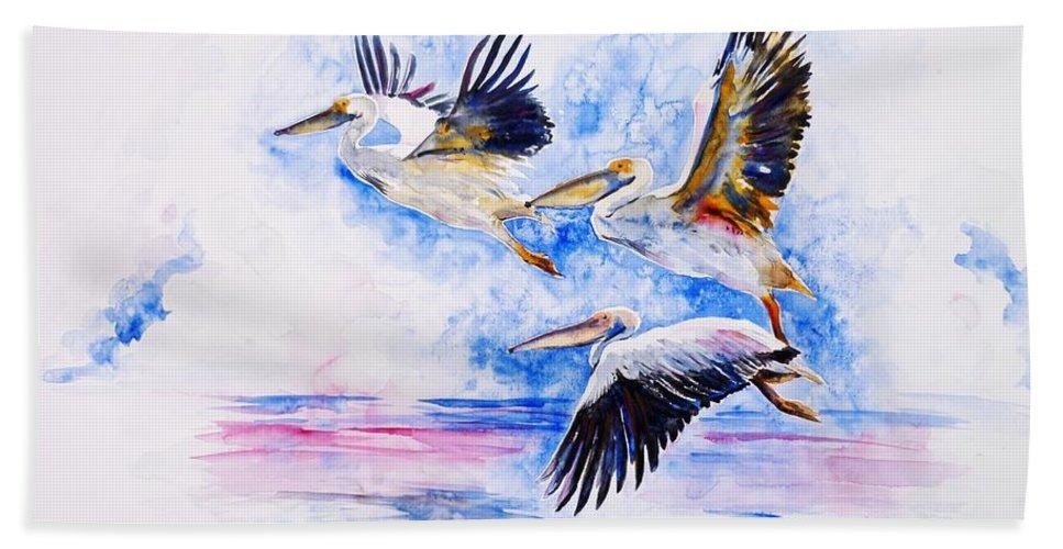 Pelicans Bath Sheet featuring the painting Pelicans by Zaira Dzhaubaeva