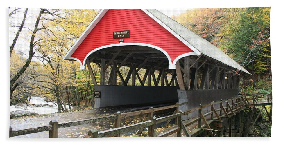 Covered Bridge Hand Towel featuring the photograph Pemigewasset River Covered Bridge In Fall by Christiane Schulze Art And Photography