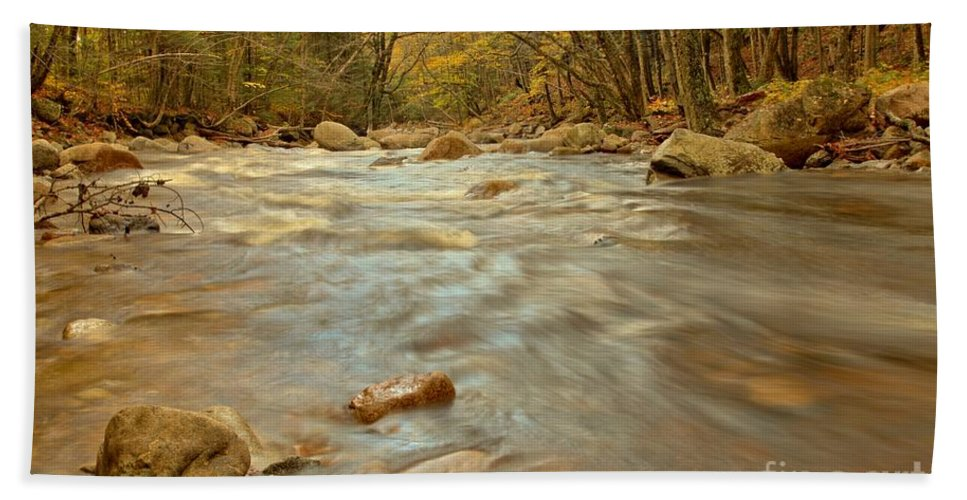 Pemigewasset River Bath Sheet featuring the photograph Pemigewasset River Rushing By by Adam Jewell