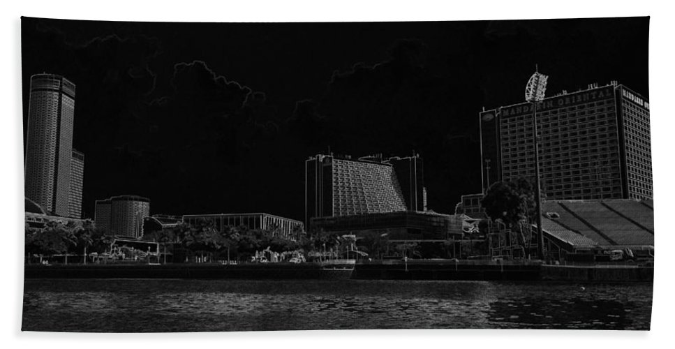 Action Bath Sheet featuring the digital art Pencil - Buildings Along The Waterfront In Singapore by Ashish Agarwal