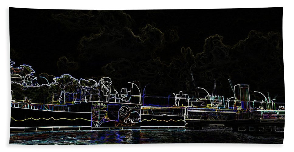 Action Bath Sheet featuring the digital art Pencil - Statue Of The Merlion And Viewing Platform by Ashish Agarwal
