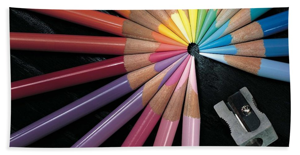 Colored Pencils Bath Sheet featuring the photograph Pencils by Gary Gingrich Galleries
