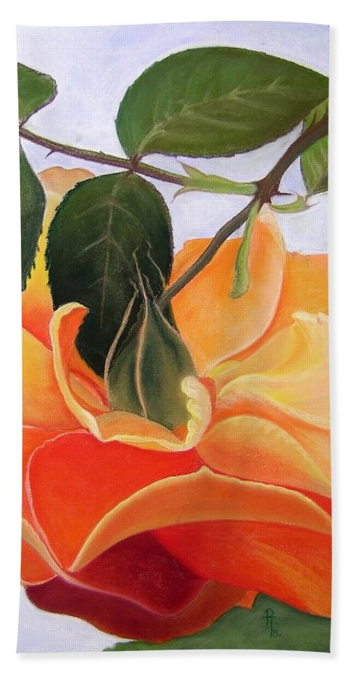 Orange Rose Bath Sheet featuring the pastel Penelope by Rosemarie Temple-Smith