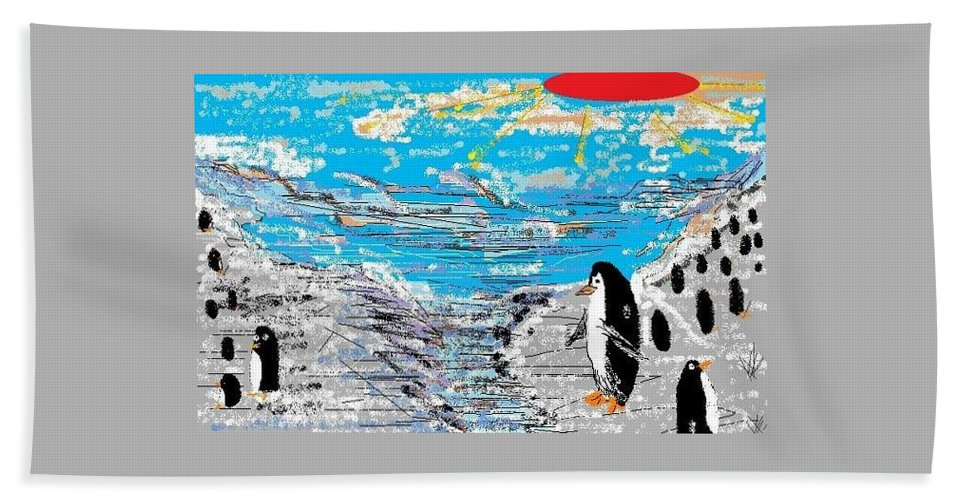 Penguins Hand Towel featuring the digital art Penguins At Five O'clock by Roanne FitzGibbon