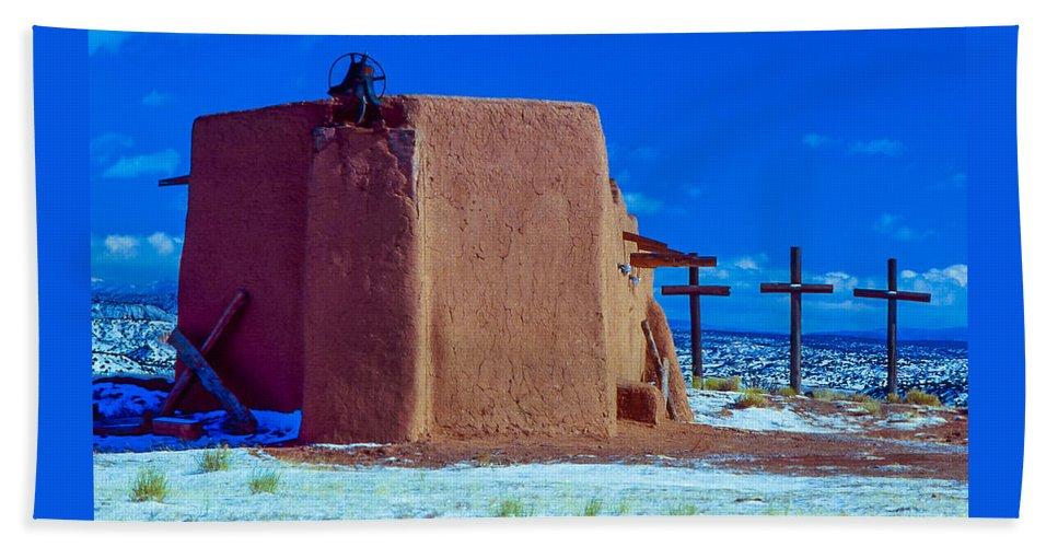 Penitente Morada Bath Sheet featuring the photograph Penitente Morada Christian Church At Abiquiu New Mexico by Jeff Black
