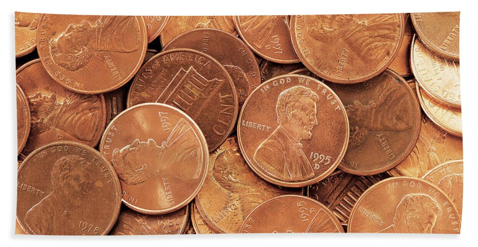 Penny Bath Sheet featuring the photograph Pennies by David Davis