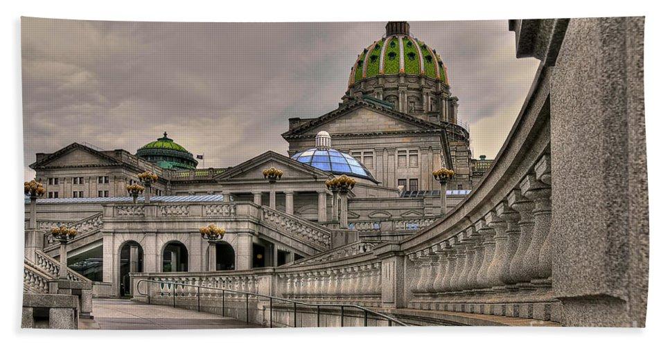 Pennsylvania State Capital Hand Towel featuring the photograph Pennsylvania State Capital by Lois Bryan