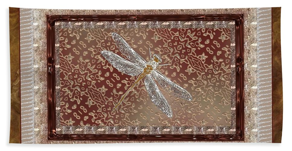 Dragonfly Bath Sheet featuring the painting Penny Postcard Sophisticated by RC DeWinter