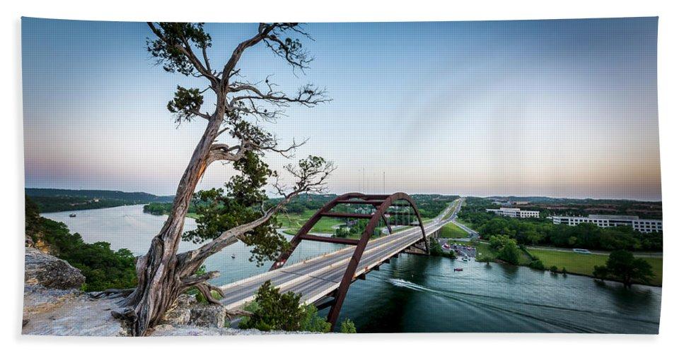Pennybacker Bridge Bath Sheet featuring the photograph Pennybacker Bridge Austin by David Morefield