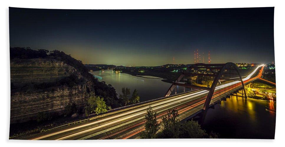 Pennybacker Bridge Hand Towel featuring the photograph Pennybacker Bridge by David Morefield