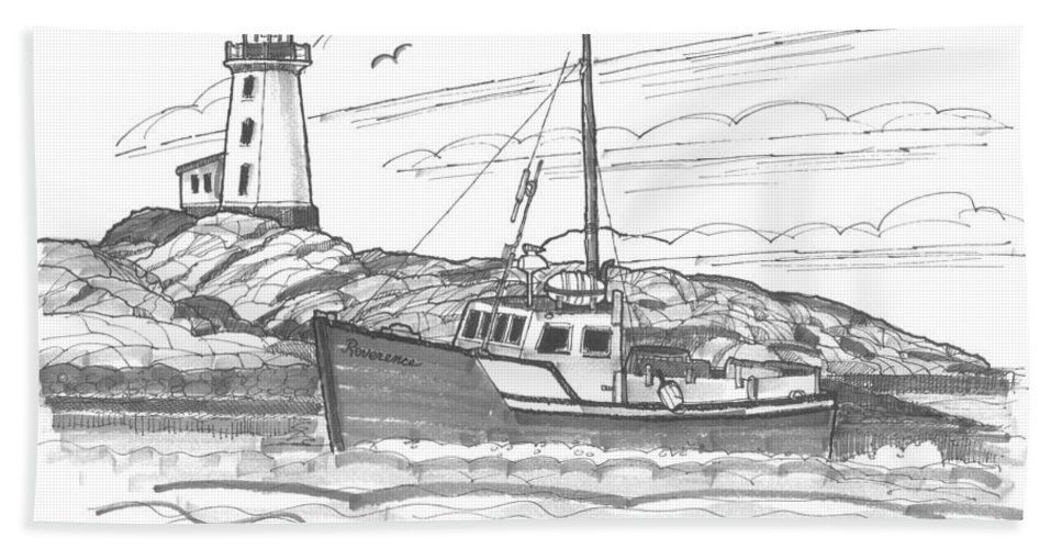 Lighthouse Bath Towel featuring the drawing Peggy's Cove Lighthouse Nova Scotia by Richard Wambach