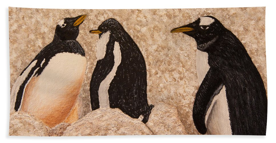 Penquin Bath Sheet featuring the painting Penquin Family by Susan Cliett