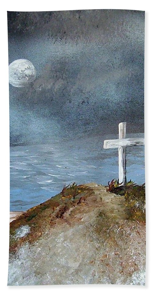 Cross Hand Towel featuring the painting Pensacola Beach By The Light Of The Moon by Eloise Schneider Mote