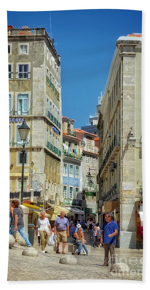 Pensao Geres Bath Sheet featuring the photograph Pensao Geres - Lisbon by Mary Machare