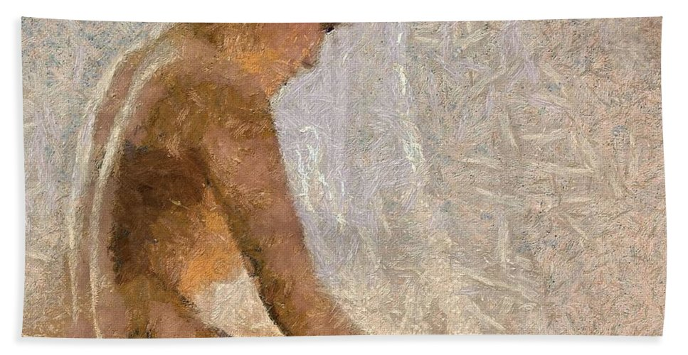 Nude Hand Towel featuring the painting Pensive by Dragica Micki Fortuna