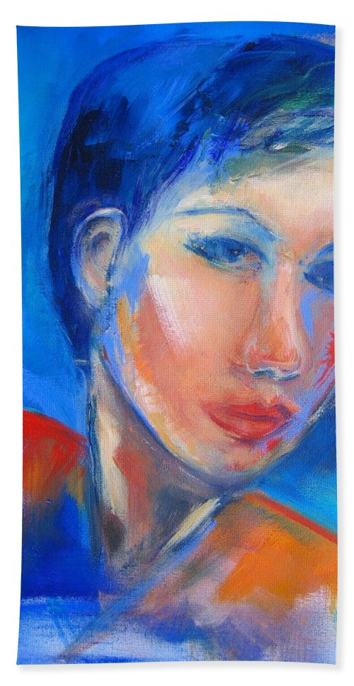 Face Hand Towel featuring the painting Pensive by Elise Palmigiani