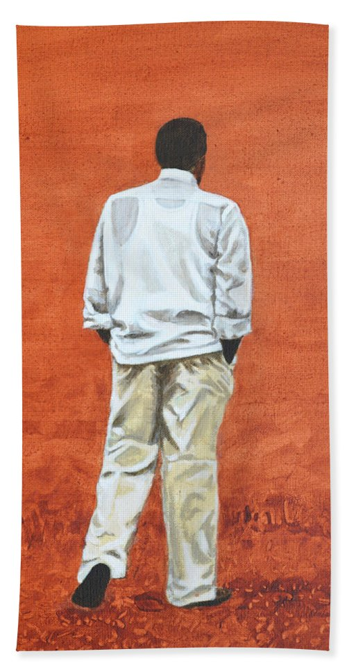 Pensive Bath Towel featuring the painting Pensive by Usha Shantharam