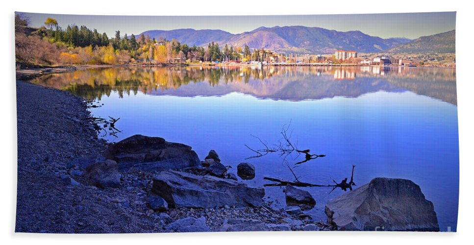Penticton Hand Towel featuring the photograph Penticton Reflections by Tara Turner