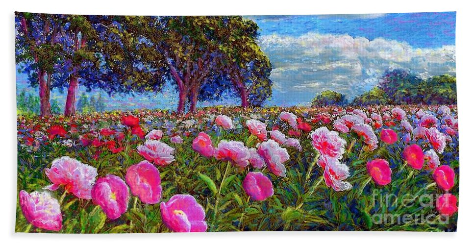 Peony Hand Towel featuring the painting Peony Heaven by Jane Small