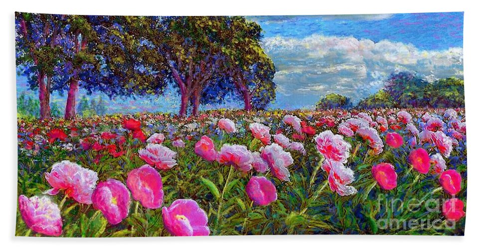 Sun Bath Towel featuring the painting Peony Heaven by Jane Small