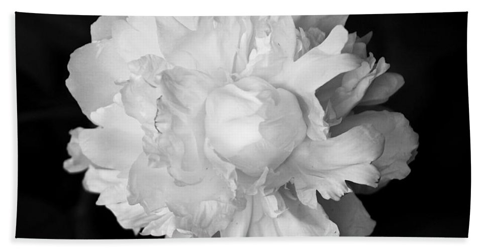 Flower Hand Towel featuring the photograph Peony In Bw by Deborah Crew-Johnson