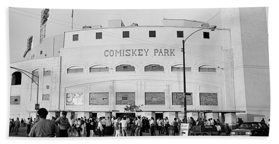Photography Bath Towel featuring the photograph People Outside A Baseball Park, Old by Panoramic Images