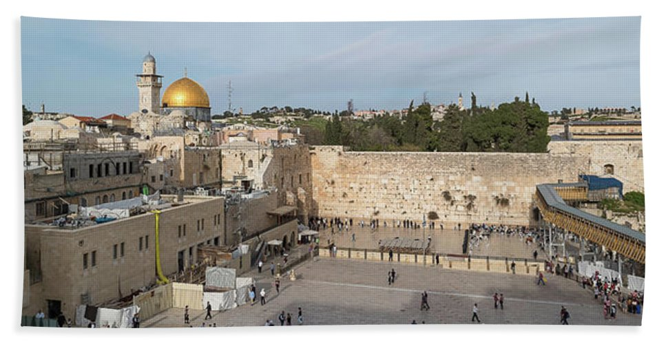 Photography Bath Sheet featuring the photograph People Praying At At Western Wall by Panoramic Images