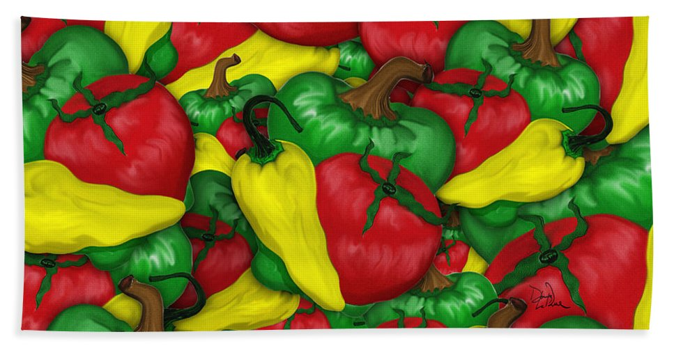 Peppers Bath Sheet featuring the digital art Peppers And Tomatos by Doug LaRue