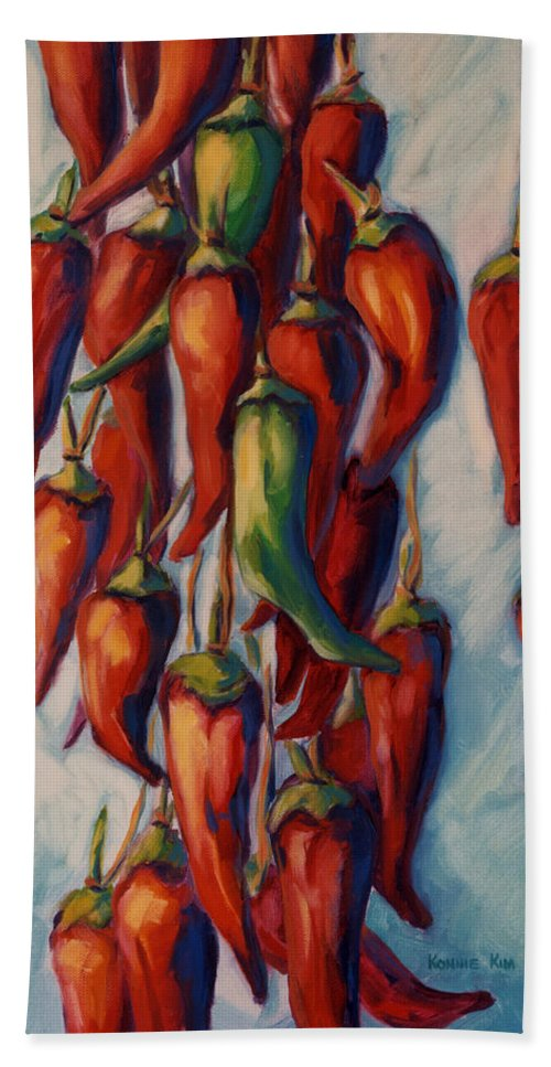 Chili Hand Towel featuring the painting Peppers by Konnie Kim