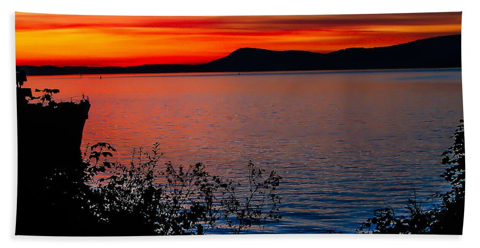 Golden Bath Sheet featuring the photograph Perfect Marine Sunset by Robert Bales