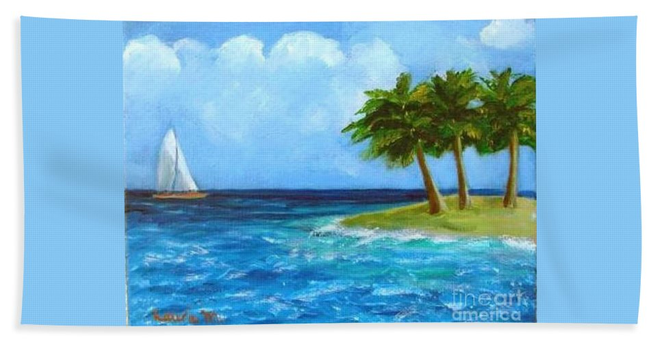 Boats Bath Towel featuring the painting Perfect Sailing Day by Laurie Morgan
