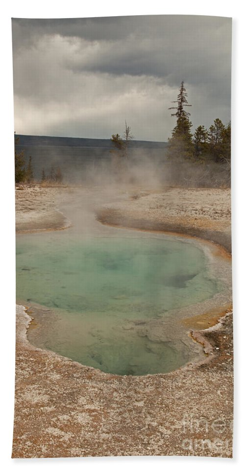 Afternoon Bath Sheet featuring the photograph Perforated Pool In West Thumb Geyser Basin by Fred Stearns