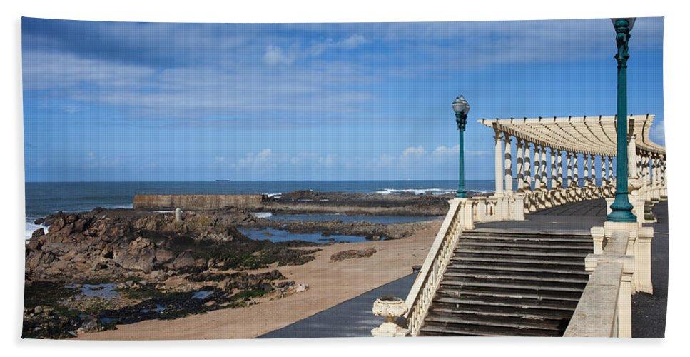 Pergola Bath Sheet featuring the photograph Pergola Da Foz At Praia Do Molhe Beach In Porto by Artur Bogacki