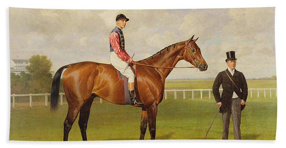 Horse Hand Towel featuring the painting Persimmon Winner Of The 1896 Derby by Emil Adam