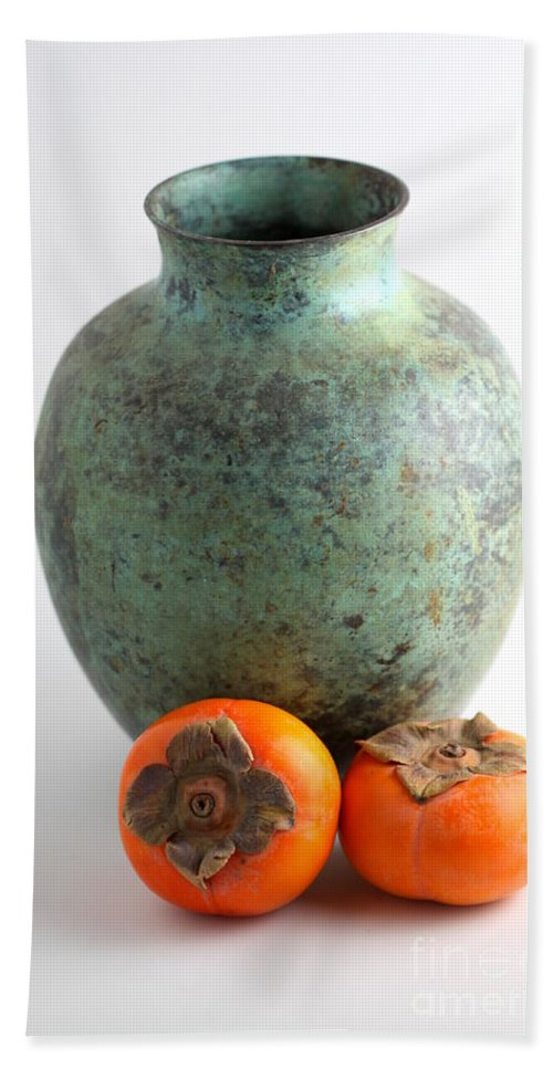 Green Hand Towel featuring the photograph Persimmon With Vase by Henrik Lehnerer