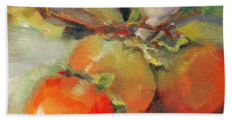 Fruit Bath Sheet featuring the painting Persimmons by Michelle Abrams